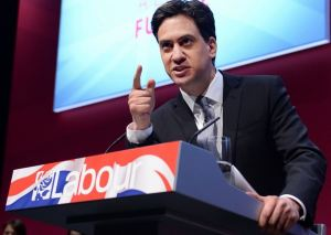 Ed Miliband delivers his manifesto speech (Twitter)